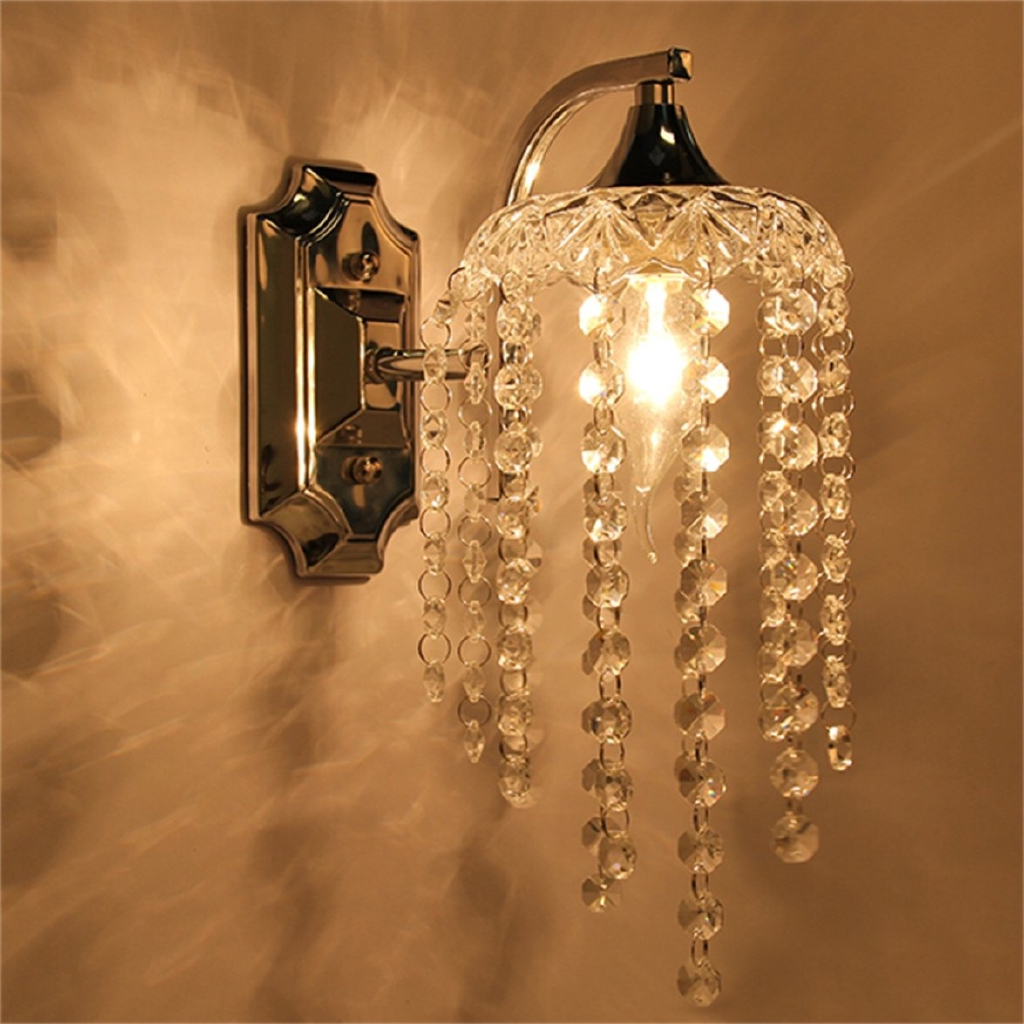 Lampu Gantung Kristal Crystal Droplets Single Wall Light With Switch Indoor Chrome Sconce Lighting Shopee Indonesia