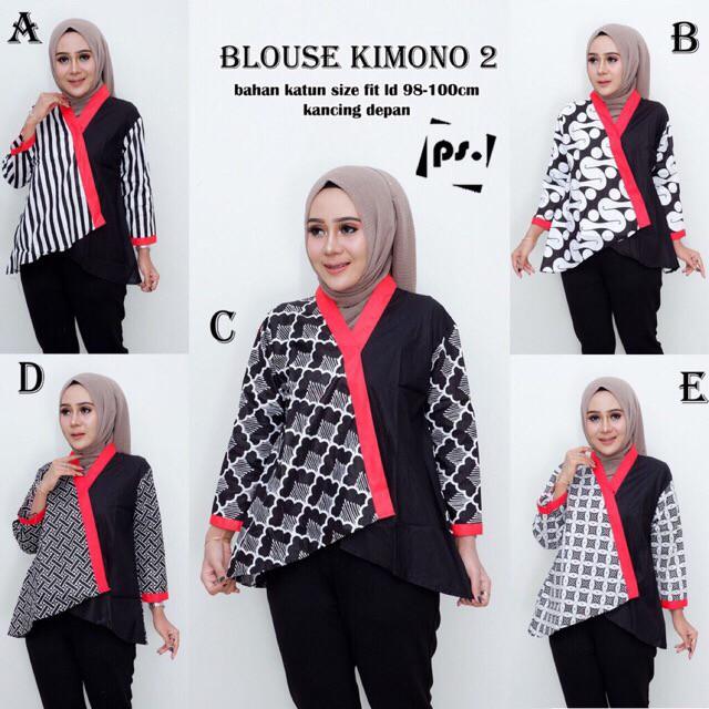 Perbandingan Harga Blus Kimono 2 Kombinasi Atasan Batik Modern Kerja