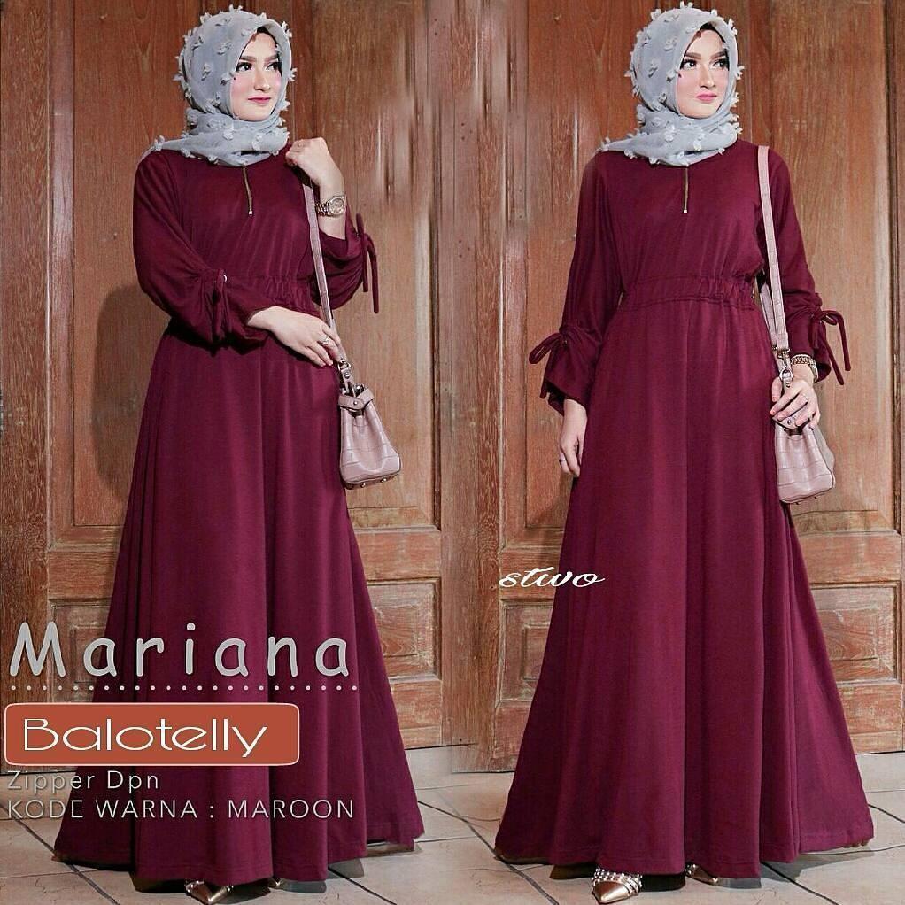 Baju Muslim Gamis Syari Wanita Terlaris Mariana Polka Dress Termurah ... db4e5aa80f