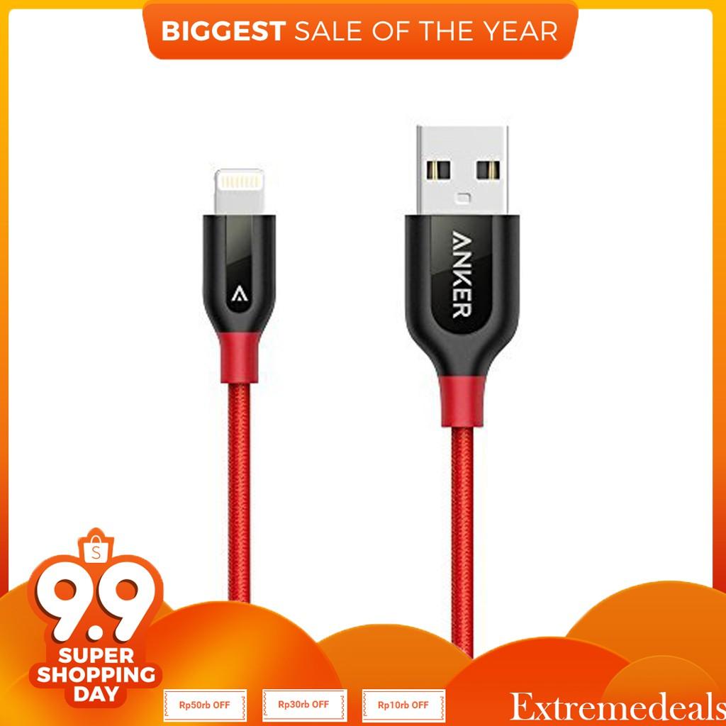Anker Kabel Double Nylon Powerline 6ft 18m Lightning Iphone Gold 1ft Merah A8122hb1 Shopee Indonesia