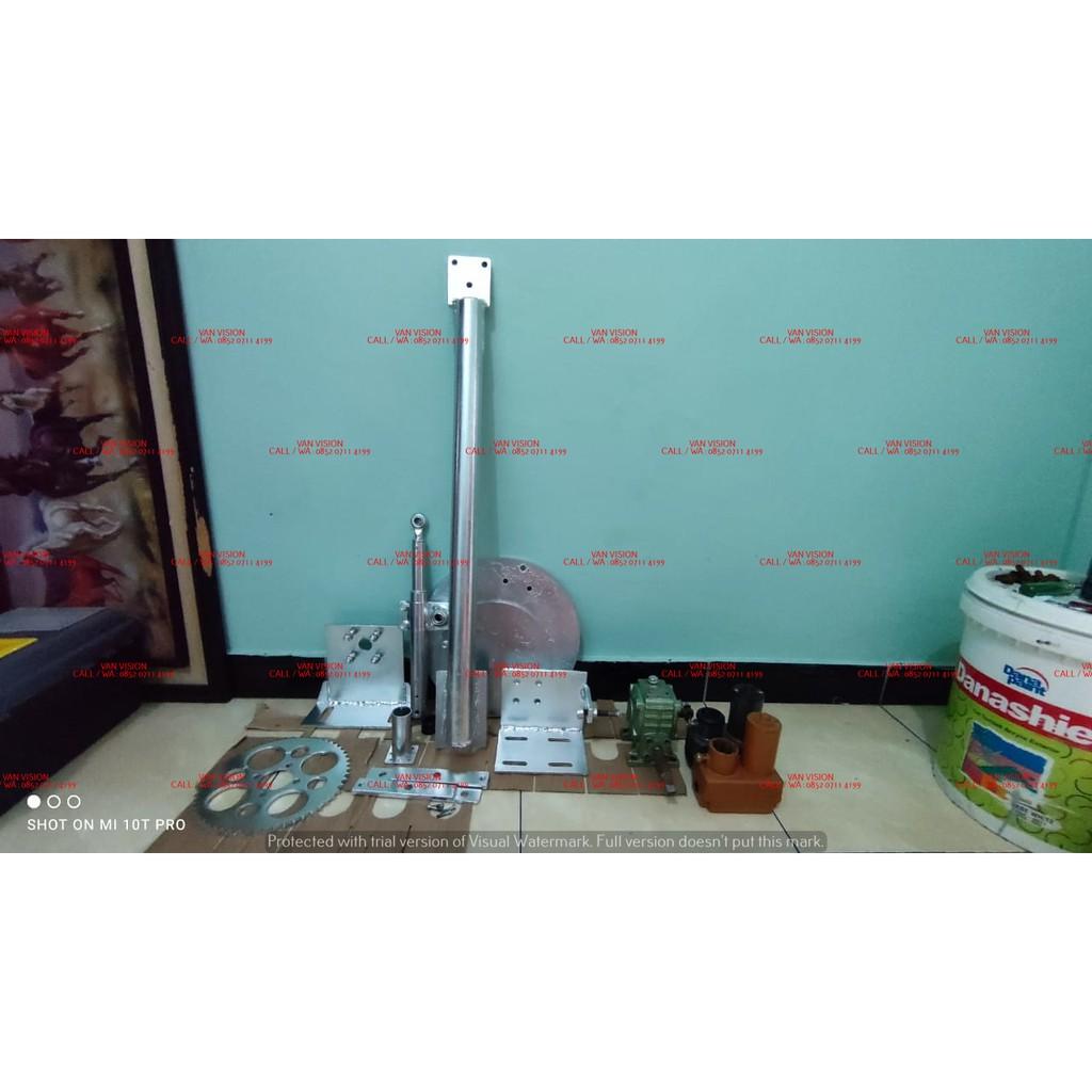 PAKET KOMPLIT GEARBOX + ACTUATOR TIMUR BARAT + BANDUL UNTUK DISH SOLID FREESAT / YURI 8 FEET FULLSET