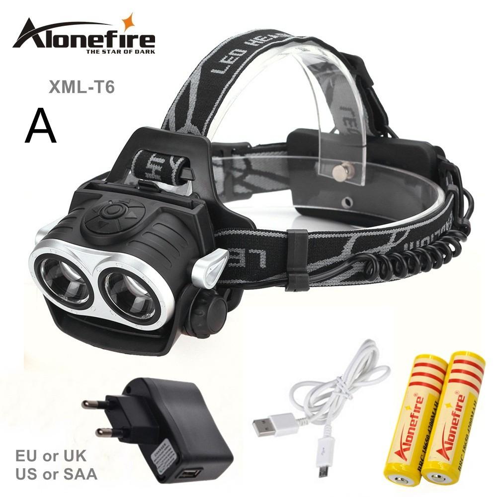 AloneFire hp20 8000LM 2x XM-L T6 Lampu Senter Kepala LED Terang Tenaga Tinggi Tahan Air