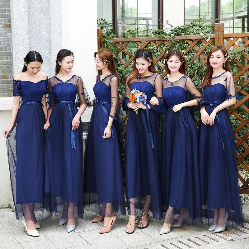 Dress Bridesmaid Model Slim Gaya Korea Warna Biru Navy