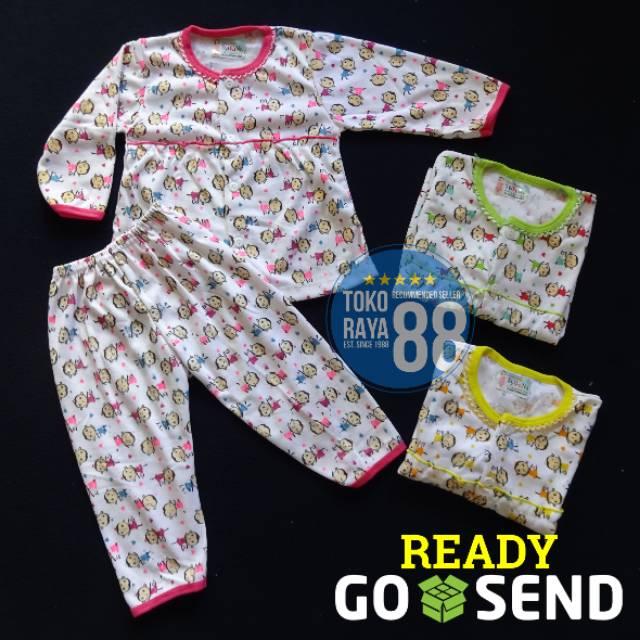 Setelan Baju Bayi / Piyama Bayi Perempuan Lengan Panjang, 3-18 Bulan, Motif Lucu, Bahan Adem, Lembut | Shopee Indonesia