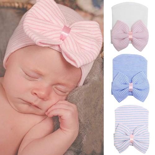 Topi Anak Bayi Perempuan Baru Lahir Dengan Pita Lucu Nyaman