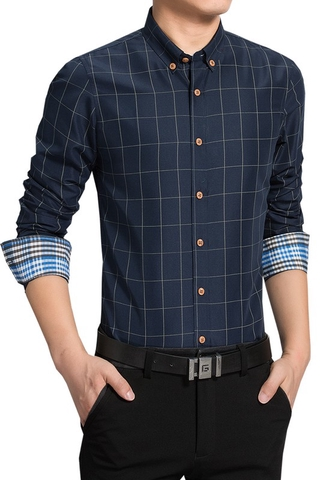 shirt casual large-size business men's Plaid 266-CX605-P23 ironing Long-sleeved