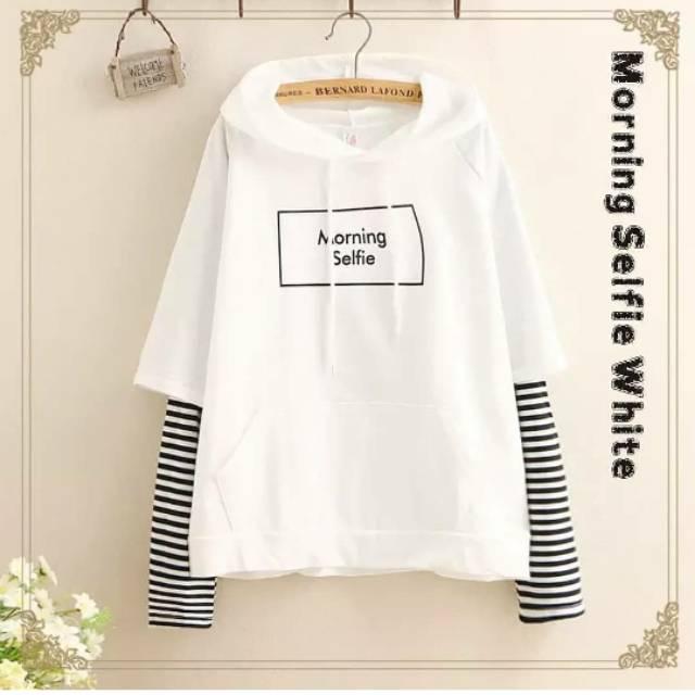 Sweater wanita | Morning selfie sweater |sweater kekinian / sweater lucu | baju murah | Shopee Indonesia