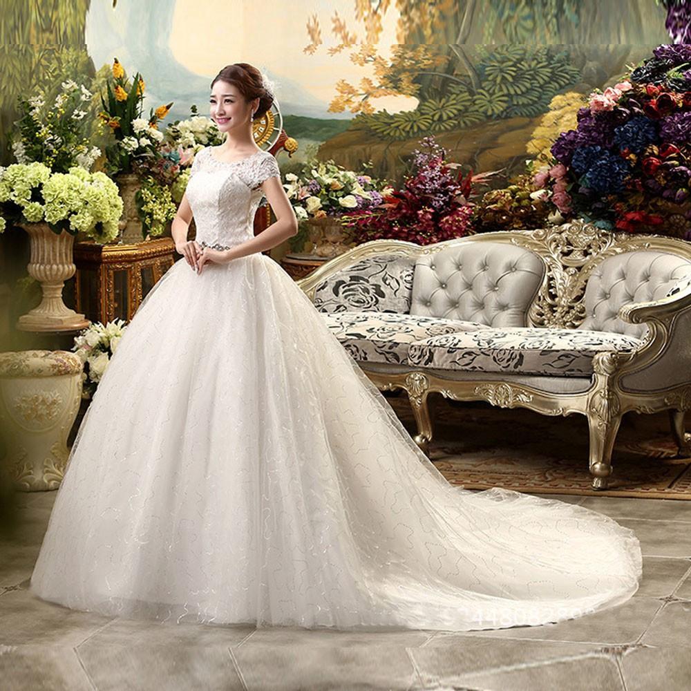 Gaun pengantin 9 New style long tail wedding dress gown slim big size  female formal dress