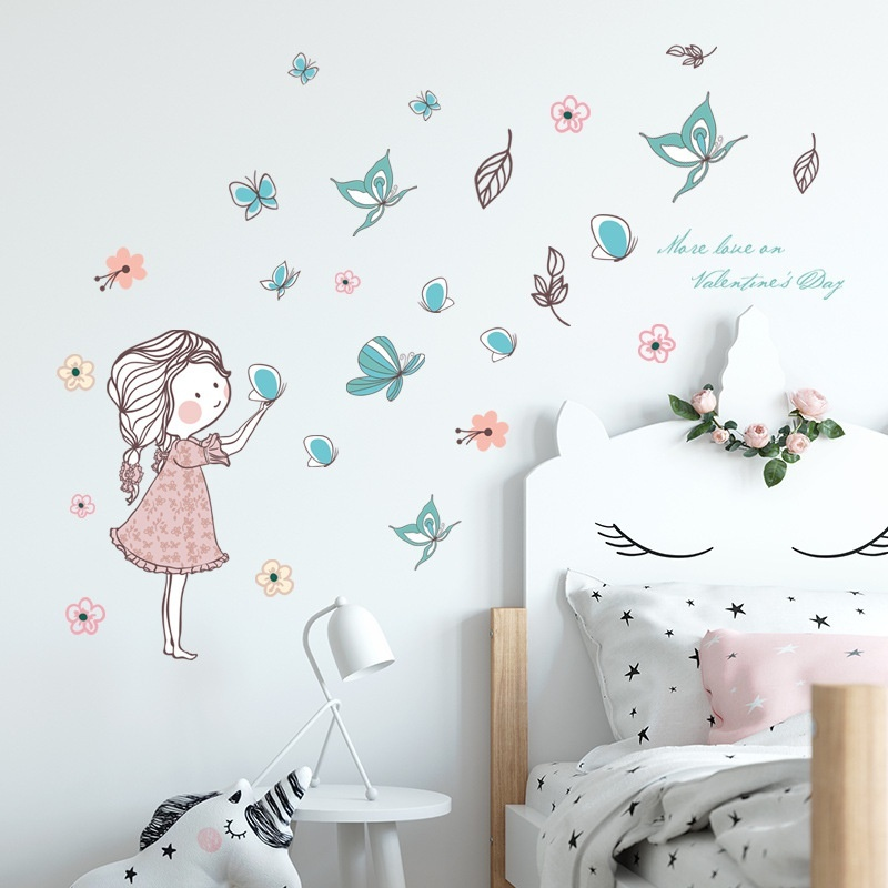 Flying Butterfly Girl Wall Stickers Bedroom Girls Room Home Decoration Art Mural Cartoon Stickers Children S Room Wallpaper Shopee Indonesia