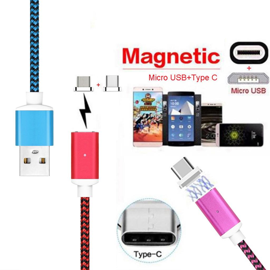 Magnetic Type C Micro Usb Charging Data Nylon Cable For Samsung Lg Kabel Xiaomi 2a Original 100 Lightning Logo Redmi 1 2 3 Note Ori Huawei Shopee Indonesia