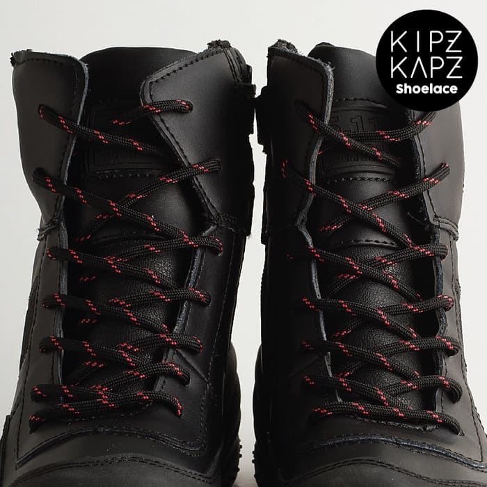 TERLARIS KIPZKAPZ SHOELACE - TALI SEPATU BULAT / ROUND 4MM - BLACK RED 140CM