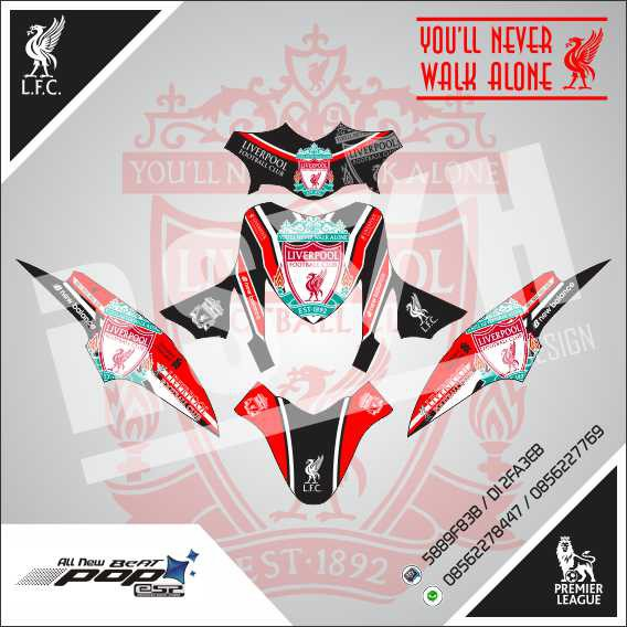 Decal Motor Honda Beat Pop Liverpool Fc Black Red Shopee Indonesia