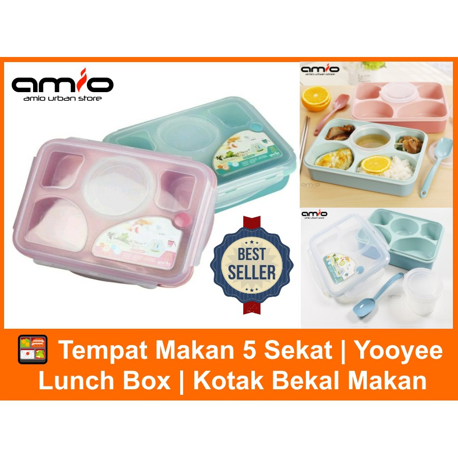 Lunch Box Yooyee 590 Sekat 5 Kotak Makan Bento Set 4 Sup Item 415 Shopee Indonesia