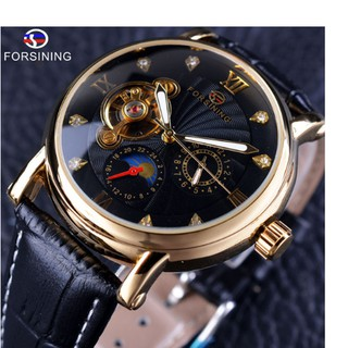 FORSINING Top Quanlity Pria Jam Tangan Mekanik Otomatis Tourbillon Sport  Casual Anti Air 446694de6b