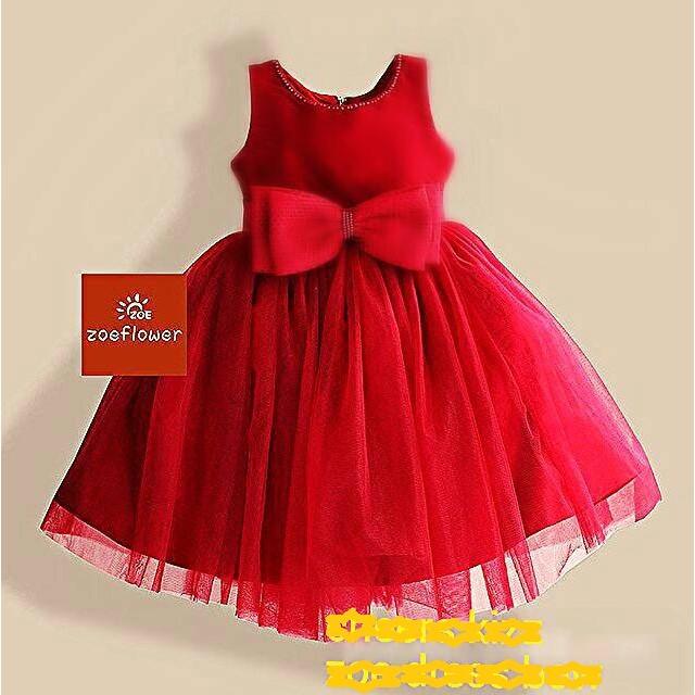 baju anak perempuan gaun pesta bayi dres merah natal dress elegant hot   Shopee Indonesia