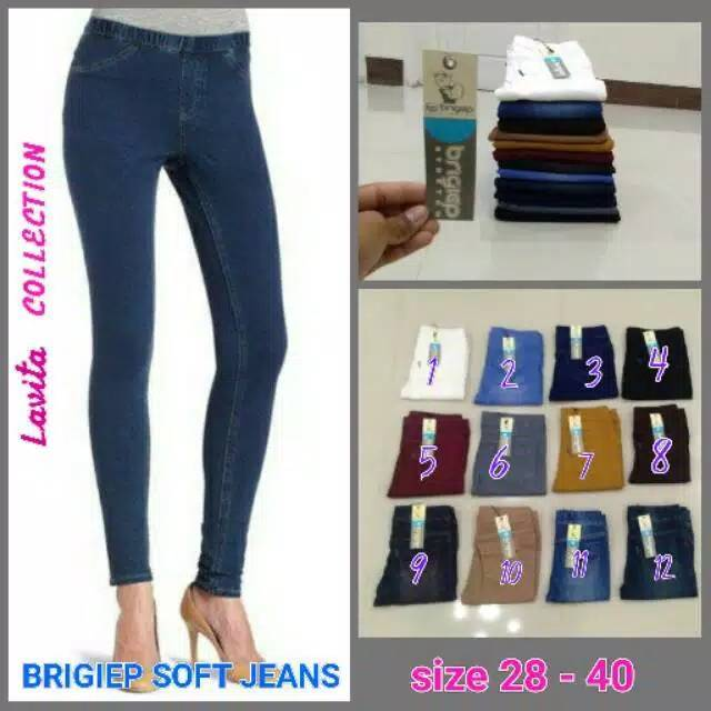 Celana Soft Stretch Jeans Wanita Legging Jegging Big Size Jumbo 36 40 Shopee Indonesia