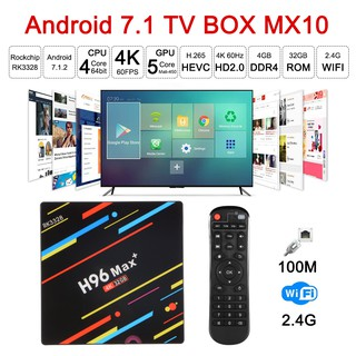 Mx10 Android Smart TV Box 4K Latest RK3328 Quad Core 4G +