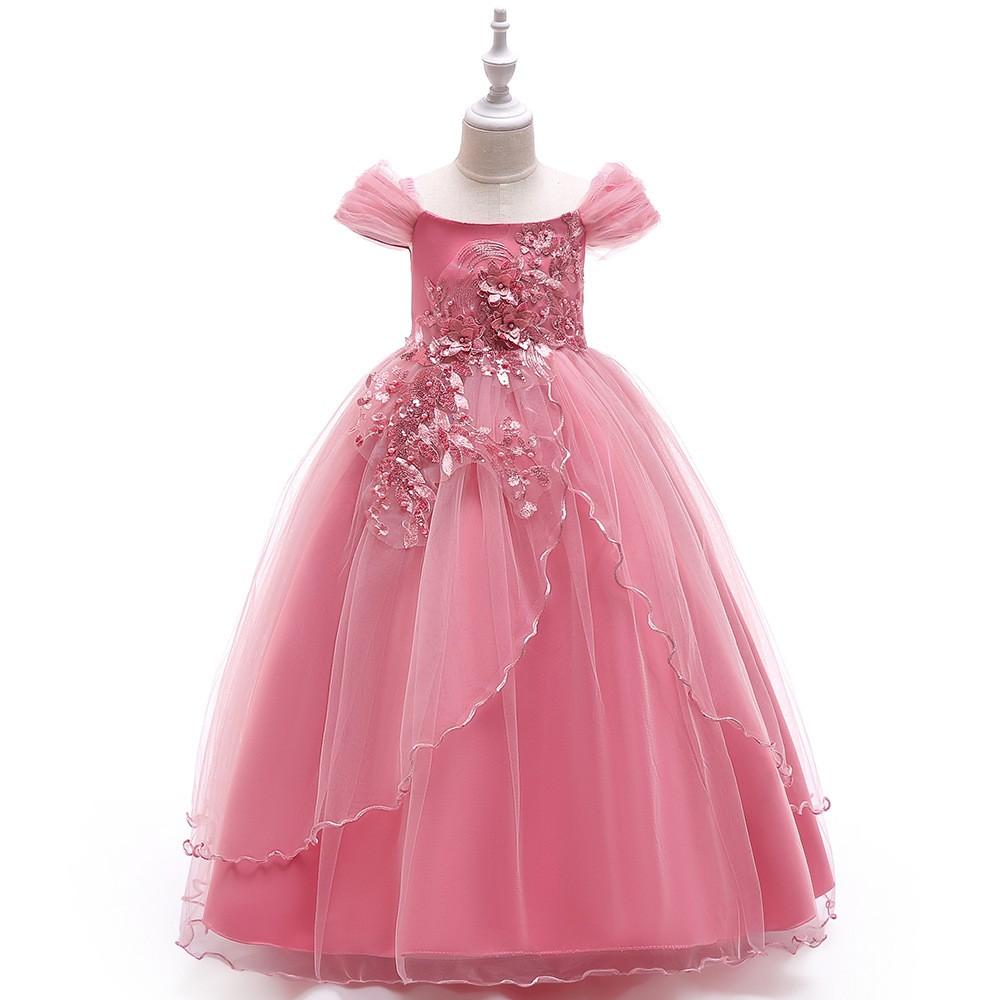 tutu dress perempuan dress baju anak princess Gaun pengantin gadis bunga  baru bordir dress