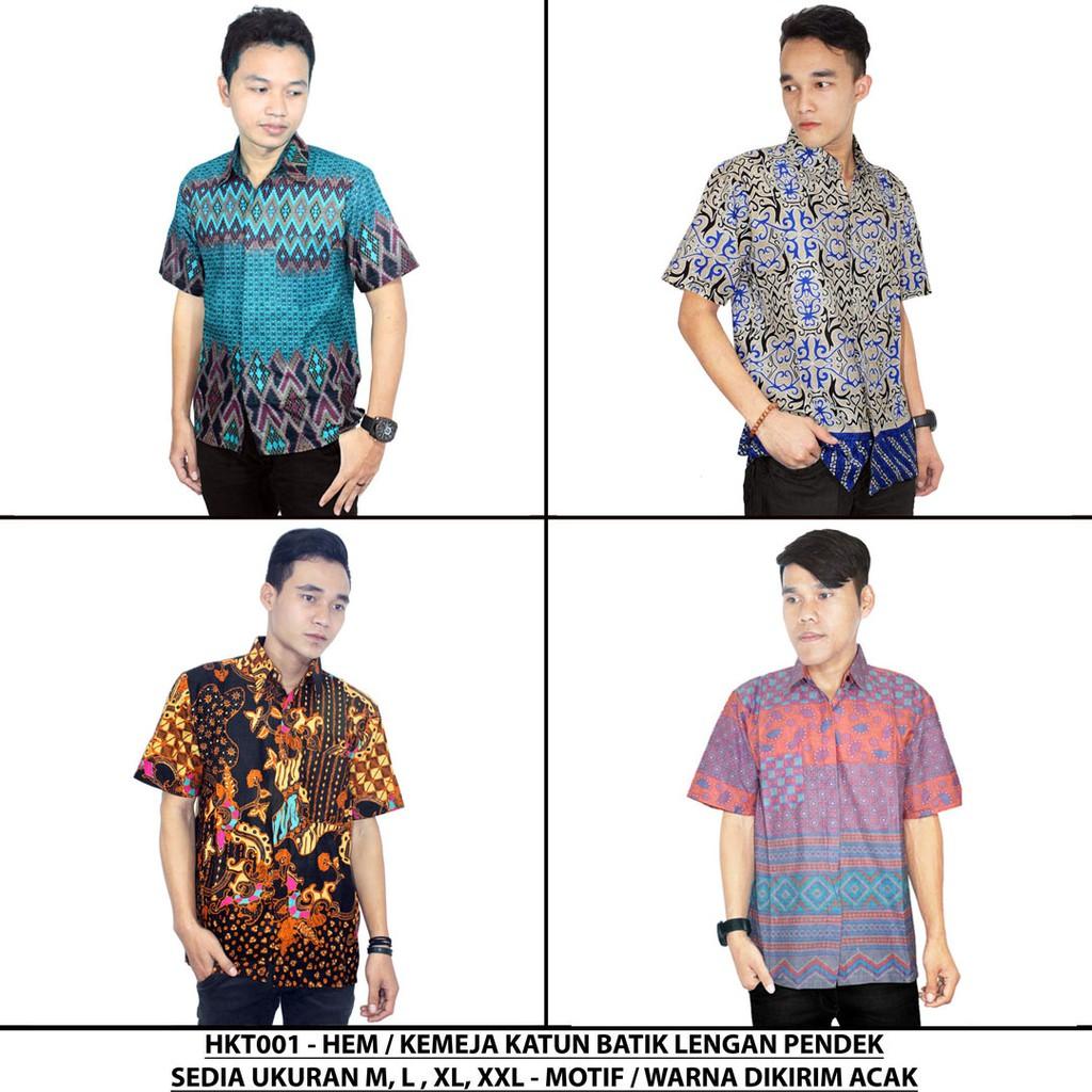 Kemeja Batik Katun Pria Hem Kerja Kantor Lengan Pendek Motif Prada 2 Layer Mlxl Acak Hkt001 Alhadi Shopee Indonesia