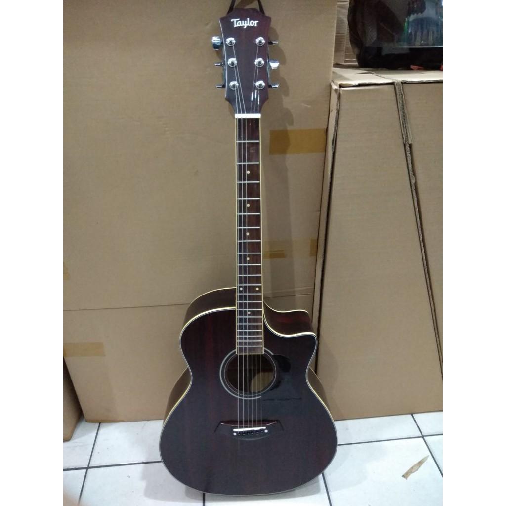 Gitar Akustik Jumbo Taylor Warna Browndoff Jakarta Murah