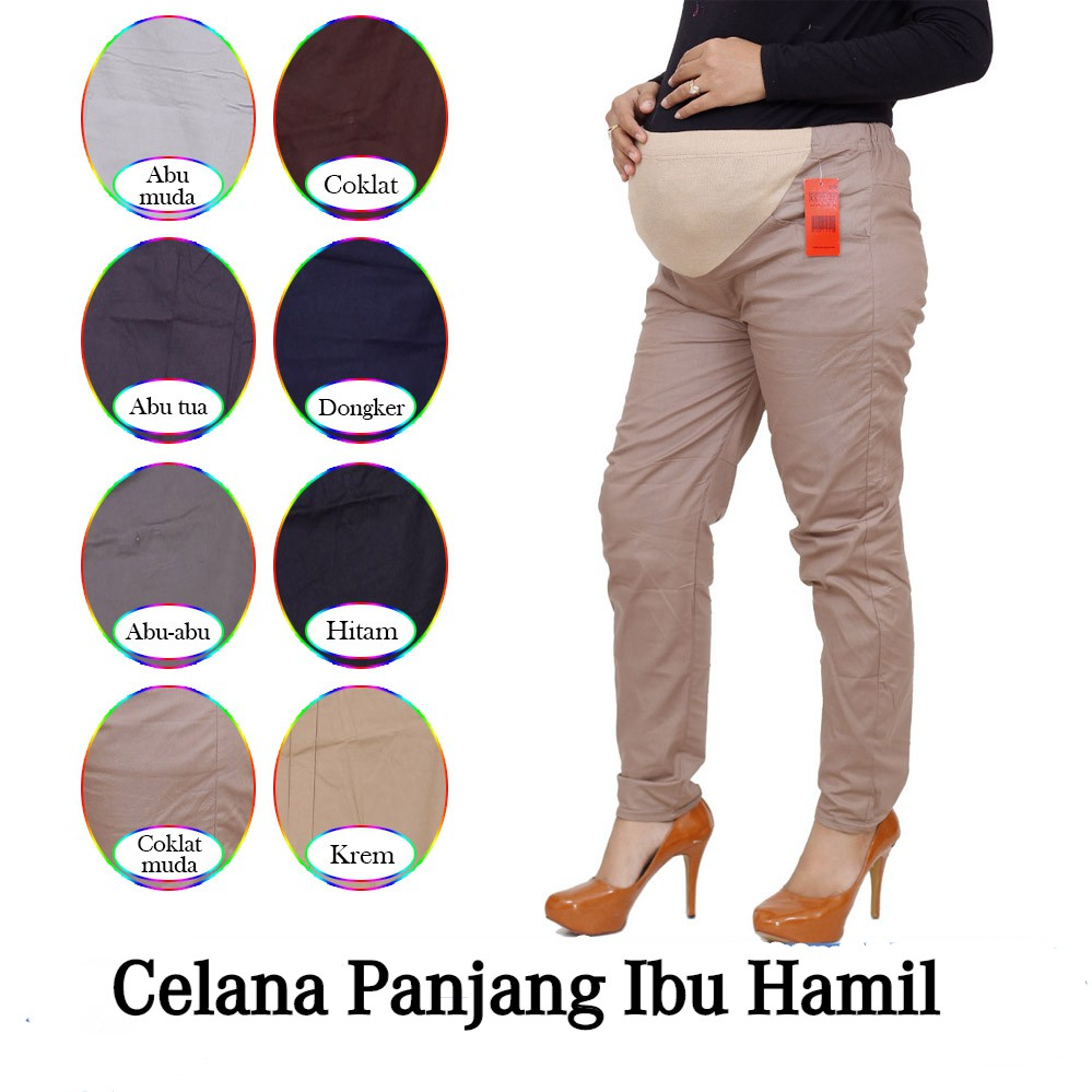 Celana Hamil Panjang 4 9 Bulan Celana Kerja Wanita Ibu Hamil Bahan Katun Stretch Shopee Indonesia