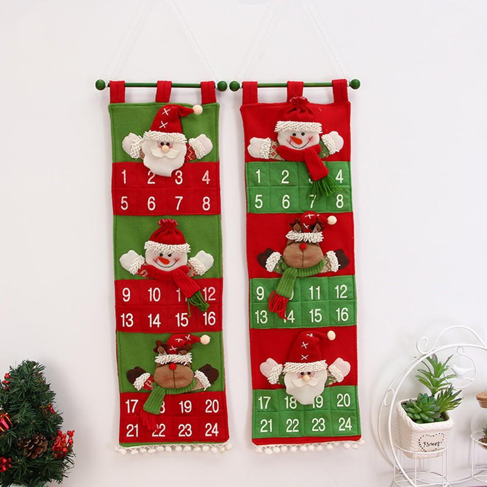Kalender Desain Santa Reindeer Snowman Dengan Saku Untuk Natal Tirai Anak Motif Kartun Sinterklas Shopee Indonesia