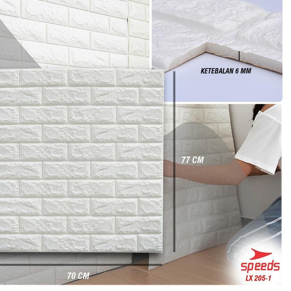 【STYLE】 Perekat Wallpaper 3d Stiker Dinding Hiasan Putih Bata Wallpaper Tahan Air Busa Dinding Kamar