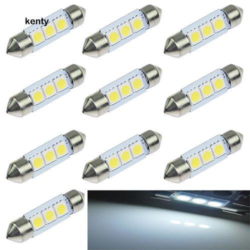 10 X  White 36MM 3 LED 5050 SMD Festoon Dome Car Light Interior Lamp Bulb 12V ON