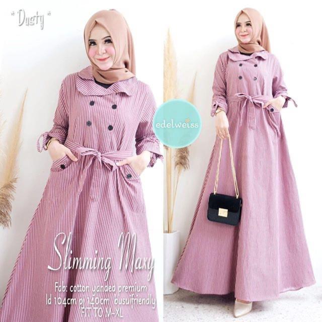 SLIMMING DRESS Baju Gamis Wanita Terbaru 2020 Gamis Muslimah Mosscrepe Dress Muslim Wanita Elegant