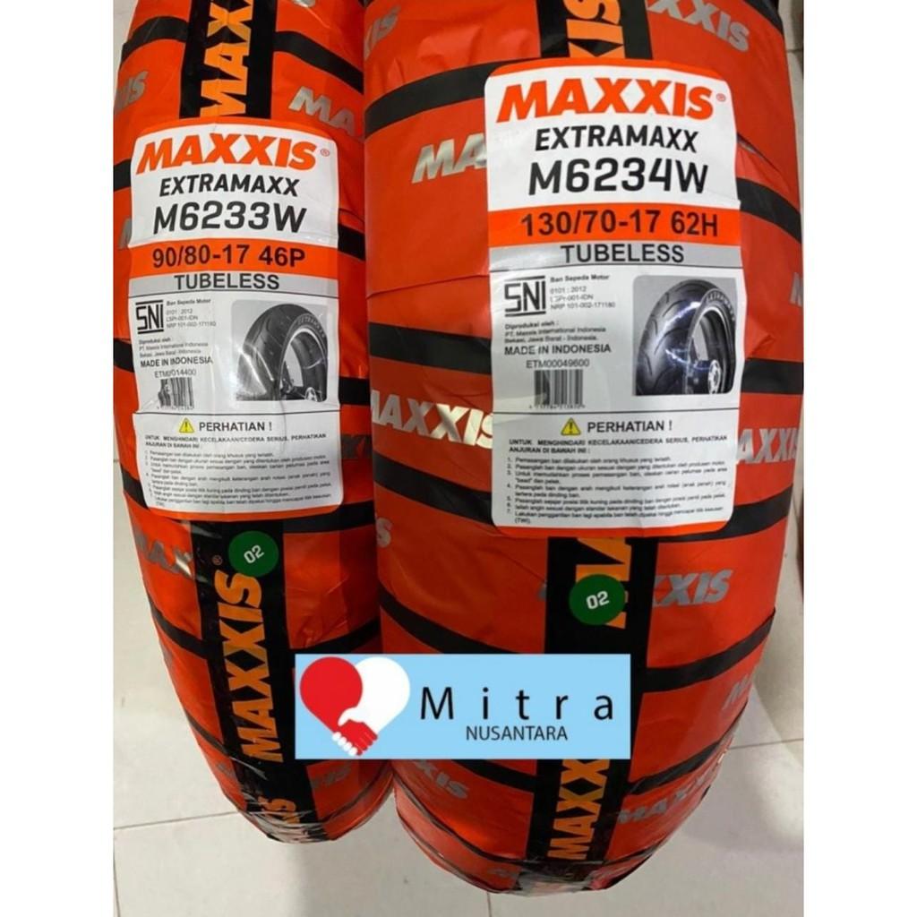 BAN LUAR MAXXIS PAKET 90/80-17 M6233W DAN 130/70-17 M6234W TUBELESS