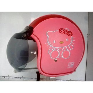 Aksesoris Hello Kitty   Acc   helm bogo kulit full hello kitty pink merah    kaca bogo original eb230e9f88