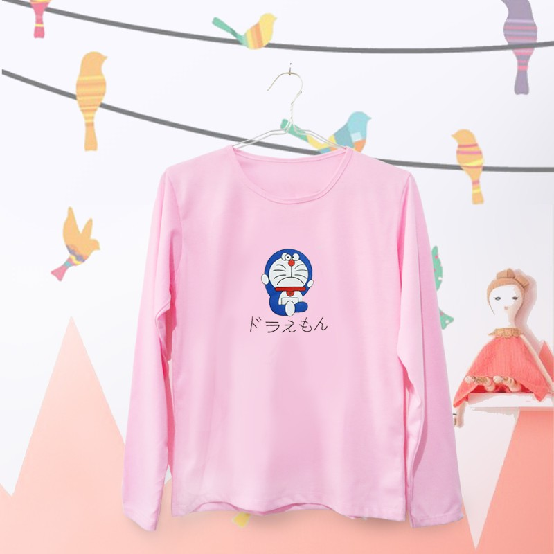 T-Shirt   Tumblr Tee   Kaos Wanita Lengan Panjang Doraemon Warna Pink 802b930d22