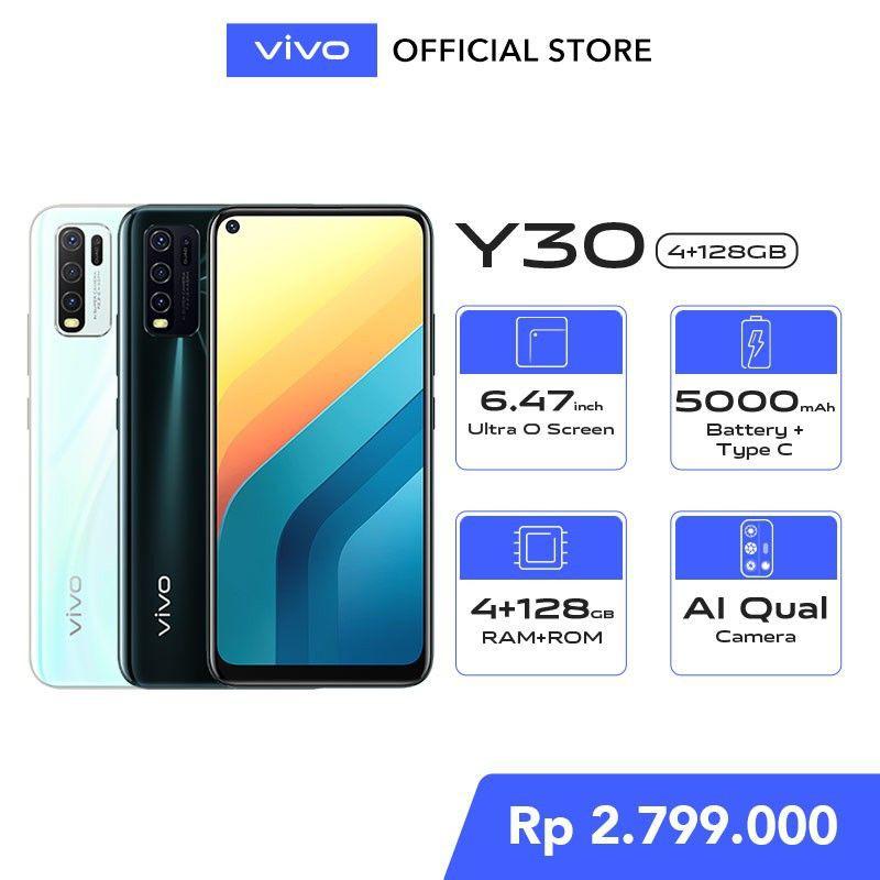 "DC -  vivo Y30 4GB/128GB - 6,47"" Ultra O Screen, Fast Charging, MTK6765"