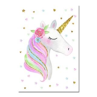 poster lukisan kanvas gambar unicorn pelangi lucu untuk