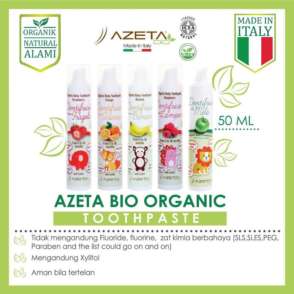 Azeta Organic Baby Toothpaste 50ml Shopee Indonesia Hair Gel