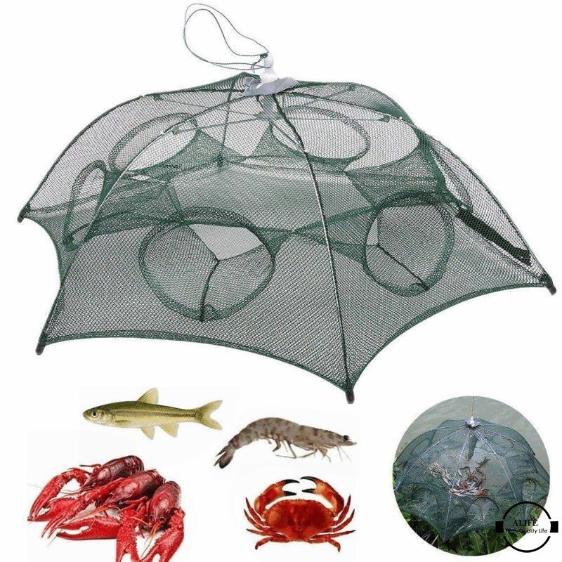 Collapsible Automatic Fishing Net Shrimp Crab Bait Cast Mesh Trap Cage US