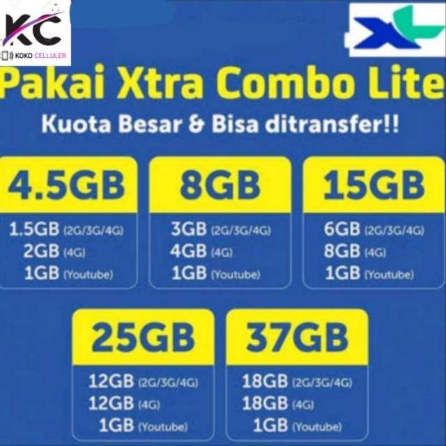 Voucher Isi ulang data XL Xtra Combo Lite 4.5GB,8GB dan 15