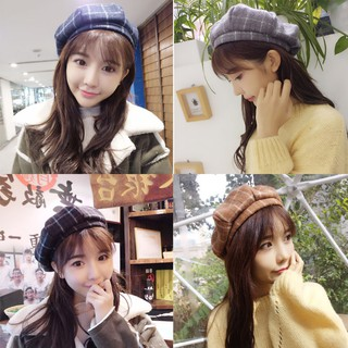 Topi Beret Gaya Korea Motif Kotak-kotak Bahan Wol Hangat untuk Wanita    Musim Gugur   Dingin 66fe28509c