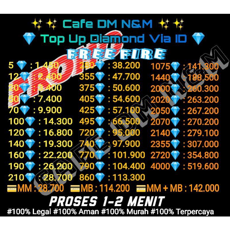 [PROMO] VIA ID 20 - 140 Diamond FF Termurah | Diamond Free Fire Termurah | Top Up Diamond Termurah