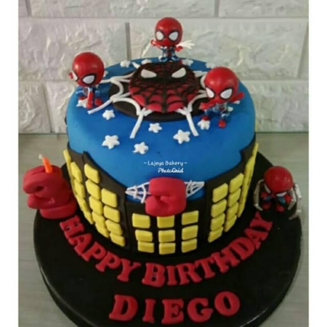 Tart Karakter Tart Custom Kue Ulang Tahun Birthday Cake Spiderman Cake Shopee Indonesia