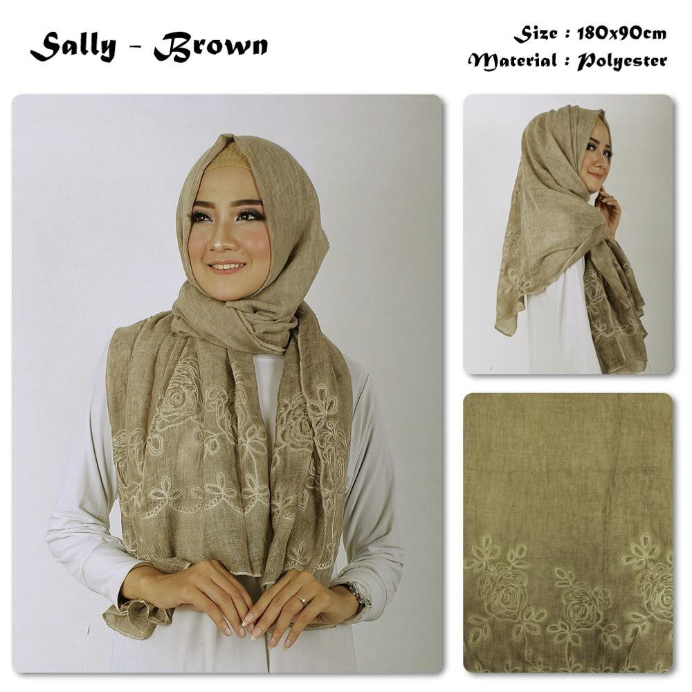 Dijual Sally Bunga Bahan Polyester Pashmina Motif Hijab Impor Murah Shopee Indonesia