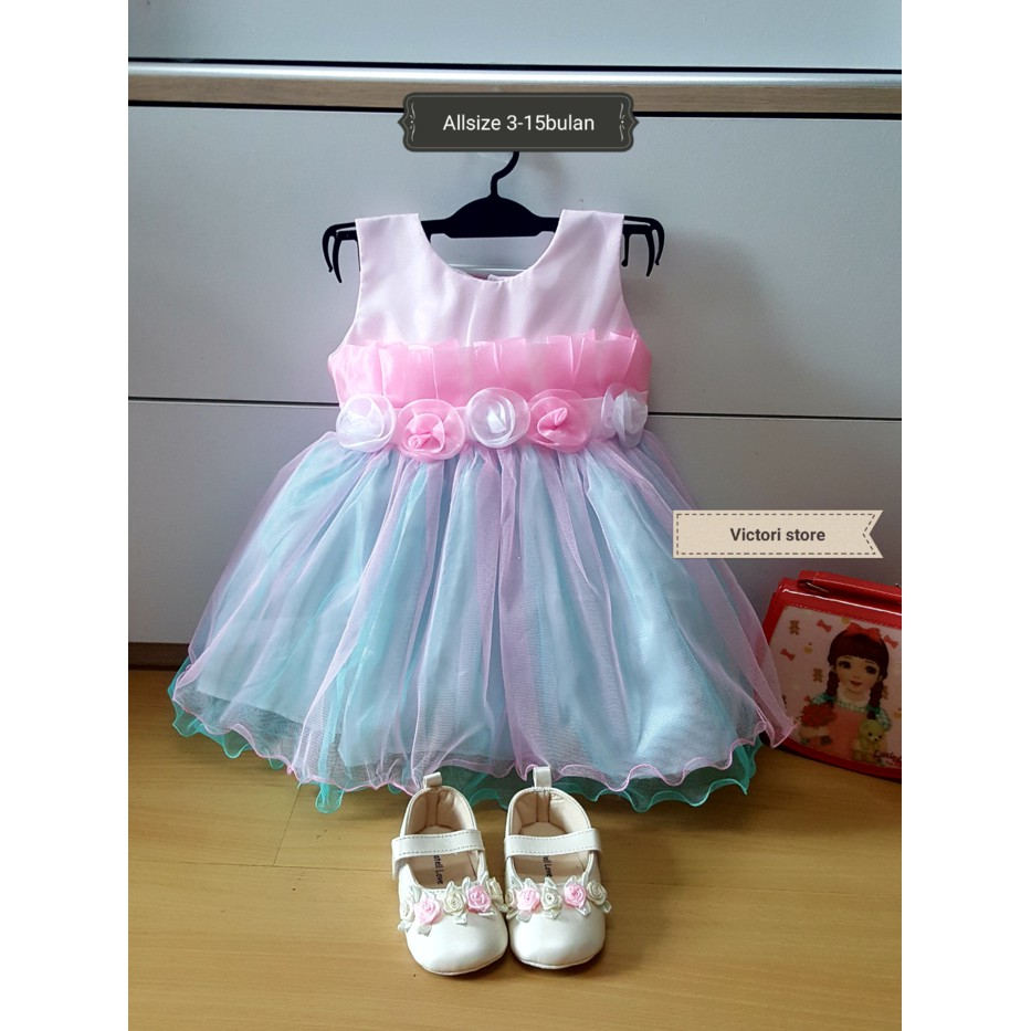 Terbaru dress bayi / gaun pesta kondangan anak bayi GREEN Murah | Shopee Indonesia