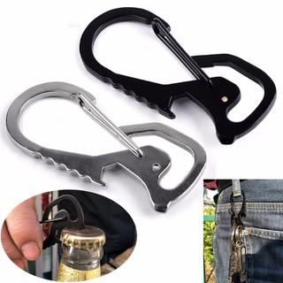 Stainless Steel Carabiner Bottle Hook Keychain Buckle Hanging Padlock Keyring WO