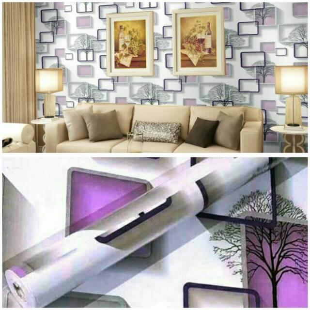 Wallpaper dinding murah ruang tamu kamar kotak pohon 3D ungu putih terbagus indah elegan terlaris | Shopee Indonesia