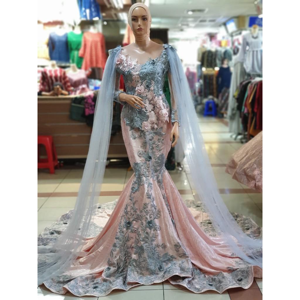Gaun Pengantin Model Duyung Jaguard 11Dnon payet warna Biru Pink