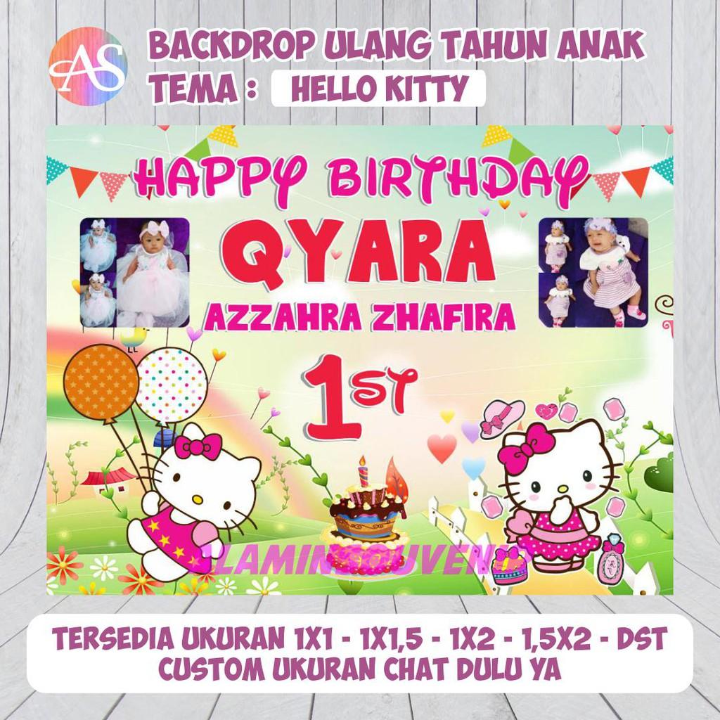 Spanduk Backdrop Pesta Ulang Tahun Anak Tema Hello Kitty Shopee Indonesia Banner ulang tahun anak perempuan