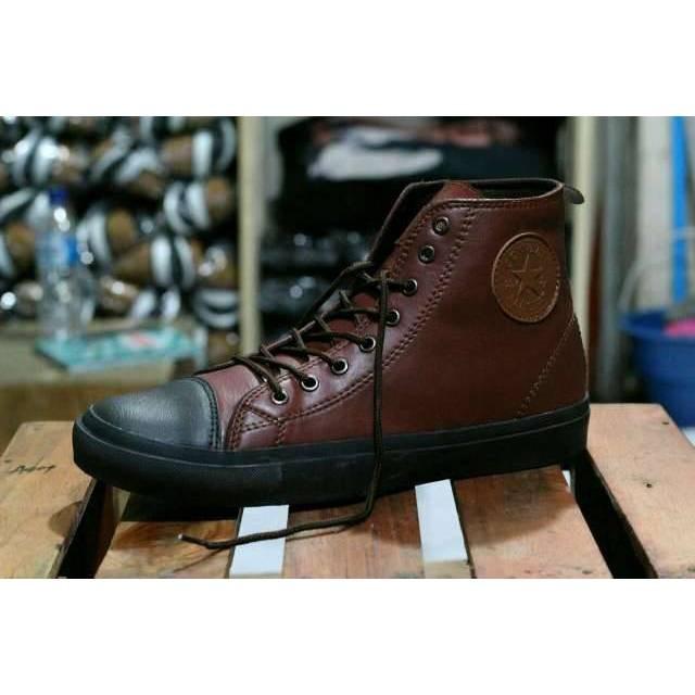 Sepatu Converse All Star Semi Kulit High Hitam Coklat Tan - Sepatu Sekolah   36990f9c69