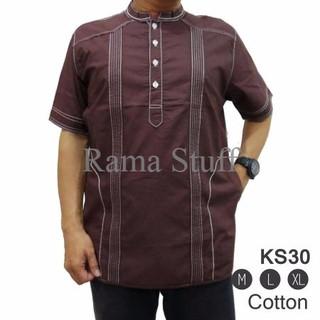 Fashion Muslim Pria Baju Koko Lengan Pendek Warna Polos Simple ... 19cc667f7c