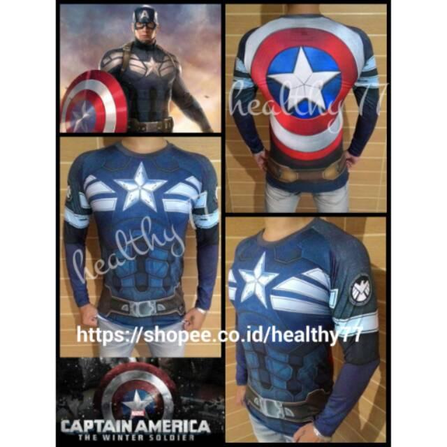 b7cf20eb Kaos Baju Fitness Gym Full print Superhero Captain America Kapten Amerika Winter  Soldier panjang | Shopee Indonesia