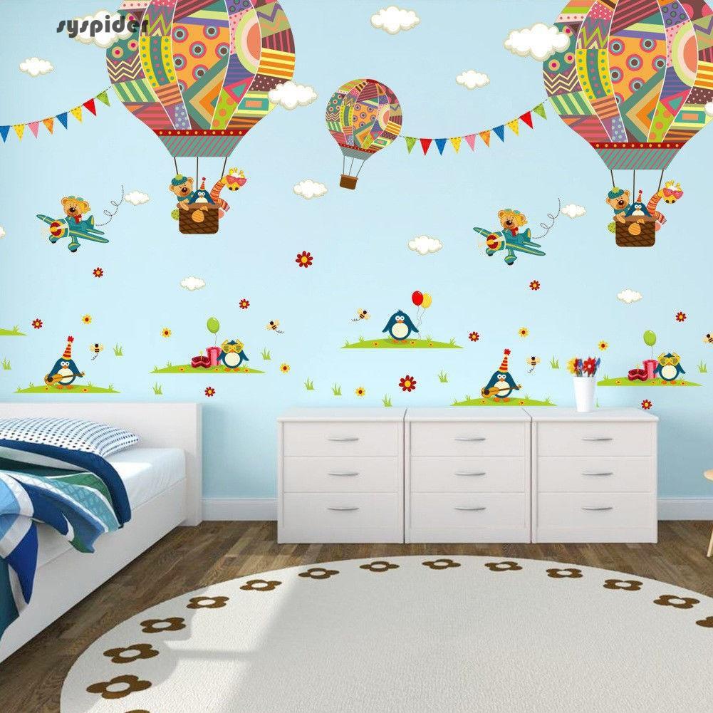 Wall Decal Removable Sticker Kids Decor Clay Aviation Air Plane Hot Air Balloon